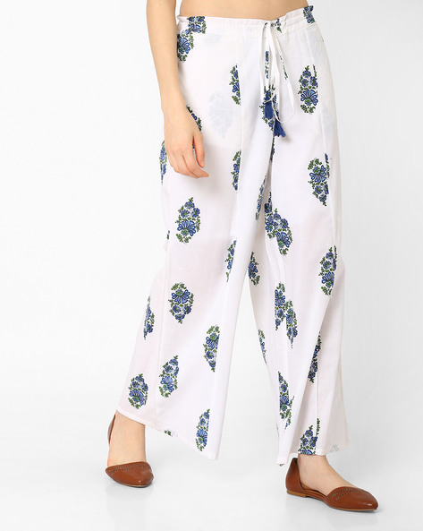 Floral Print Palazzo Pants By AJIO ( Blue )