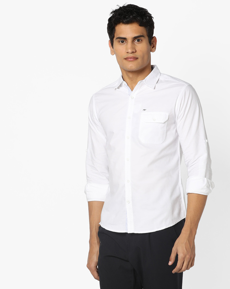 Slim Fit Shirt With Flap Pocket By SPYKAR ( White )