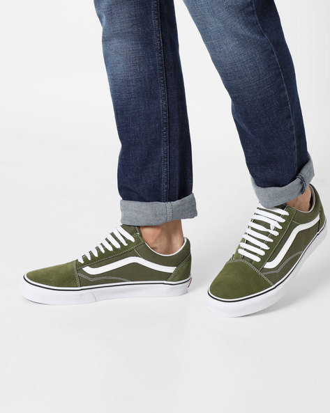 Low-Top Lace-Up Shoes By Vans ( Green )