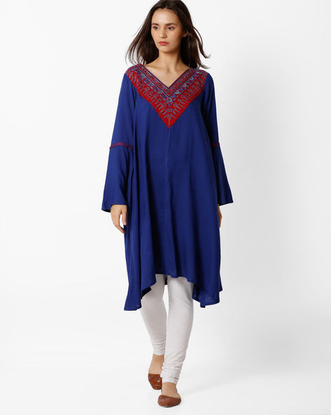 V-neck Tunic With Bell Sleeves By Global Desi ( Blue )