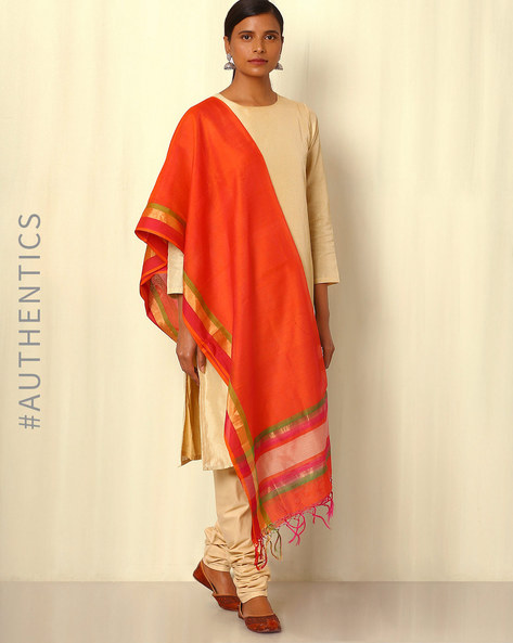 Handwoven Maheshwari Silk Cotton Dupatta By GoCoop ( Orange )