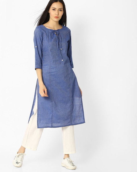 Straight Kurta With Neck Tie-Up By Jaipur Kurti ( Blue )