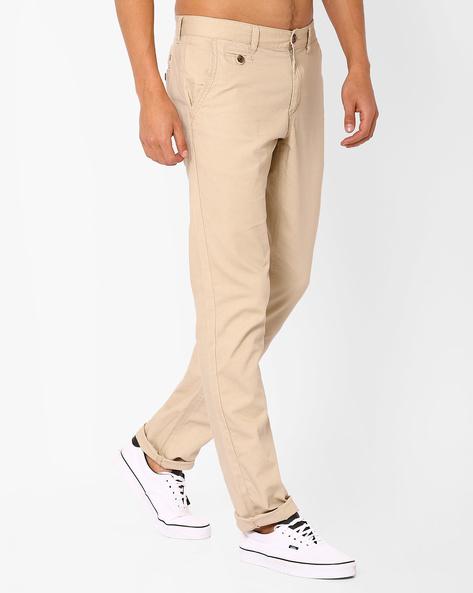 Mid-Rise Tapered Trousers By NETPLAY ( Beige )