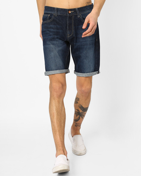 Lightly Washed Slim Fit Denim Shorts By AJIO ( Blue )