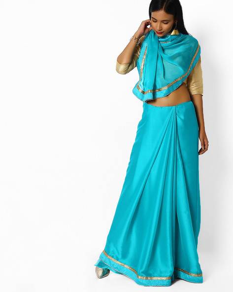 Woven Saree With Contrast Taping By Majestic Silk ( Blue )