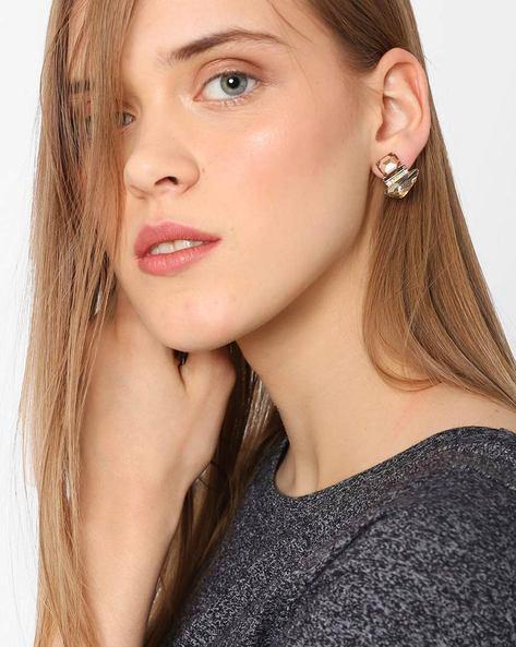 Rhinestone Stud Earrings By Ssoul ( Gold )