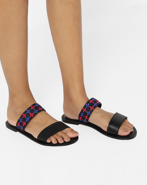 Genuine Leather Flat Sandals By AJIO ( Black )