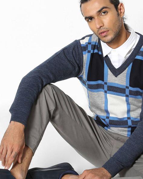 Checked V-neck Pullover By DUKE ( Blue )