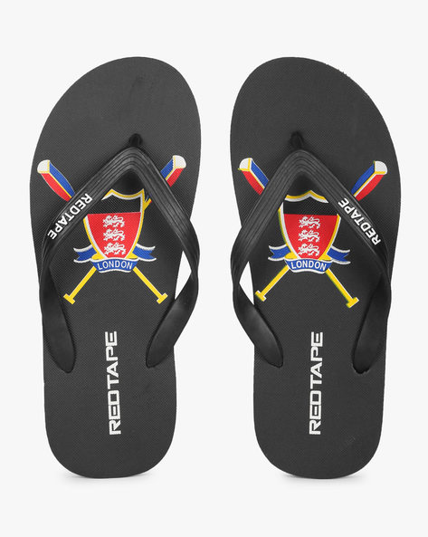 Printed Thong-Strap Flip-Flops By RED TAPE ( Black )