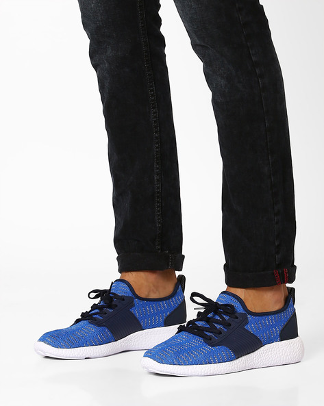 Knitted Panelled Sneakers By AJIO ( Lightblue )