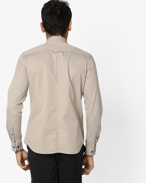 Panelled Shirt With Zip Pocket By AJIO ( Stone )
