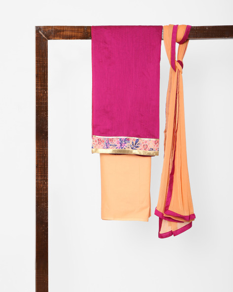 Unstitched Dress Material With Dupatta By Parmita ( Pink )