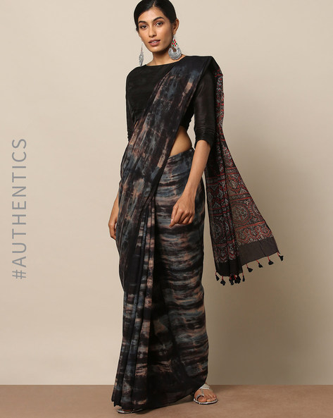 Handblock Print Ajrak Clamp Shibori Cotton Saree By Indie Picks ( Black ) - 460133737001