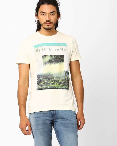 Regular Fit Graphic Print T-shirt By AJIO ( Offwhite )