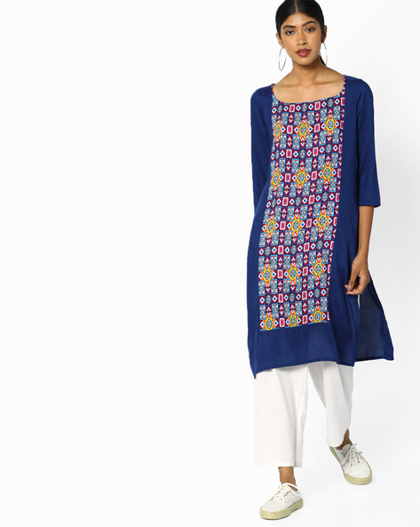 Straight Kurta With Printed Panel By Melange By Lifestyle ( Navy )