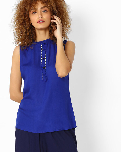 Sleeveless Tunic With Mandarin Collar By SOCH ( Blue )