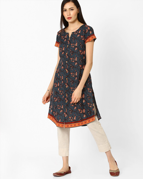 Floral Print Kurta With Front Slit By AJIO ( Navyblue )