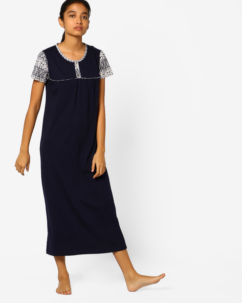 Nightdress With Printed Sleeves By Slumber Jill ( Blue )