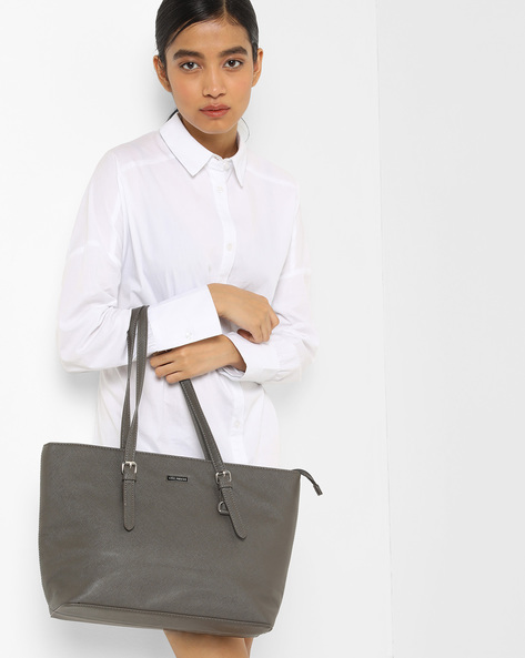 Textured Tote Bag By Lino Perros ( Grey )