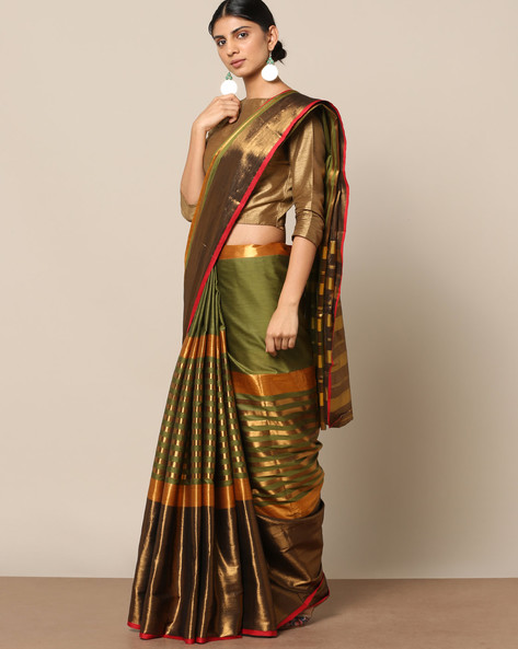 Mercerised Cotton Striped Saree With Zari Border By Indie Picks ( Green )