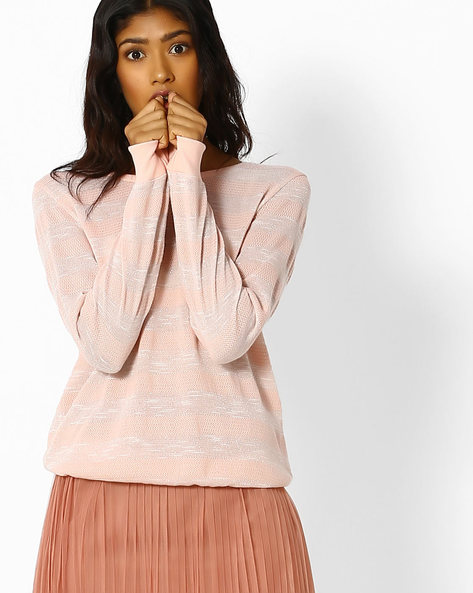 Striped Top With Ribbed Hems By DNMX ( Pink )