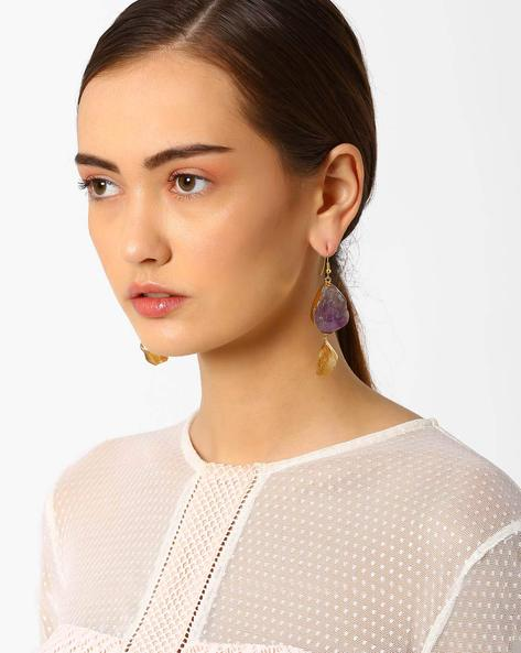 Citrine & Amethyst Drop-Earrings By AJIO ( Multi )