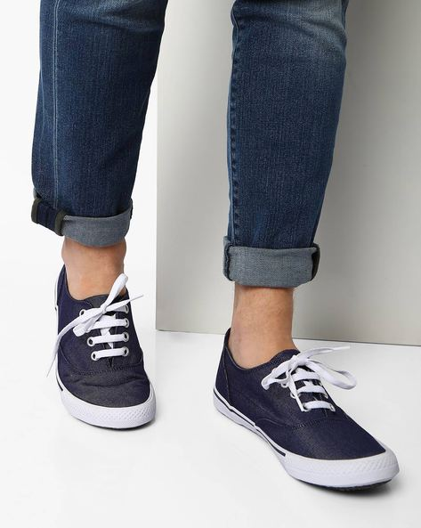 N9-Treated Canvas Plimsolls By AJIO ( Navy )