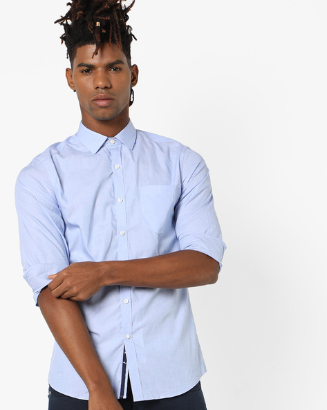 Slim Fit Cotton Shirt With Spread Collar By Black Coffee ( Blue )