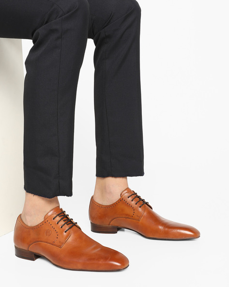 Genuine Leather Lace-Up Formal Shoes By ALBERTO TORRESI ( Tan ) - 450066414007
