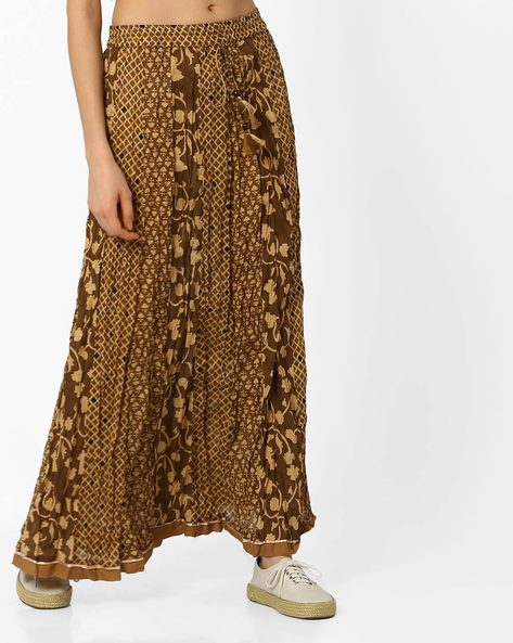 Printed Maxi Skirt By Melange By Lifestyle ( Beige )