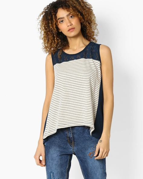 Striped Envelope Top With Lace Yoke By DNMX ( White )