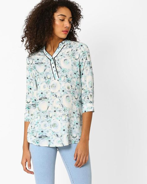 Floral Print Tunic With Y-Placket By Recap ( Blue )