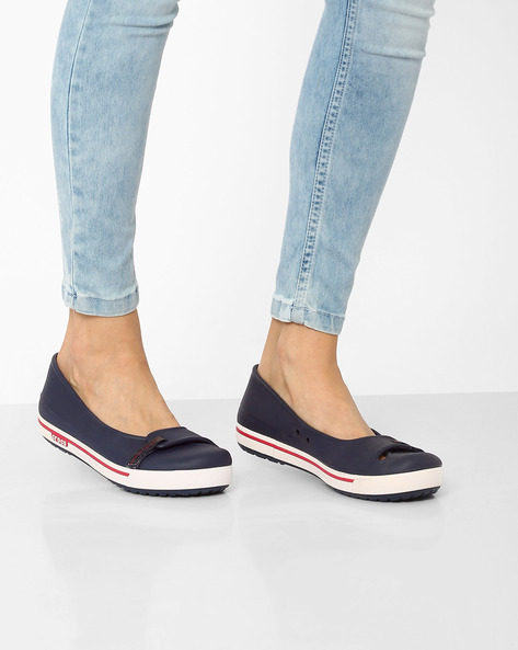 Brand Slip-On Shoes With Foxing Stripes By CROCS ( Navy )
