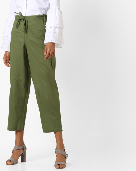 Cropped Pants With Drawstring Waist By AJIO ( Green )