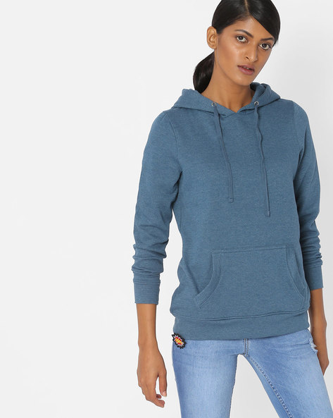 Hooded Pullover With Kangaroo Pocket By Fame Forever By Lifestyle ( Navy )