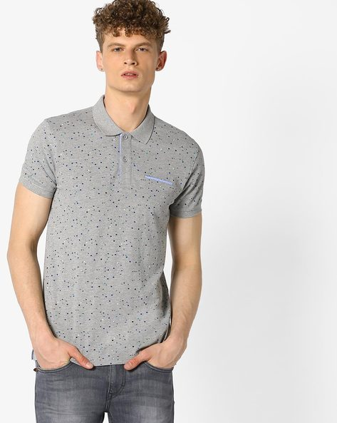 All-Over Print Polo T-shirt By UNITED COLORS OF BENETTON ( Grey )