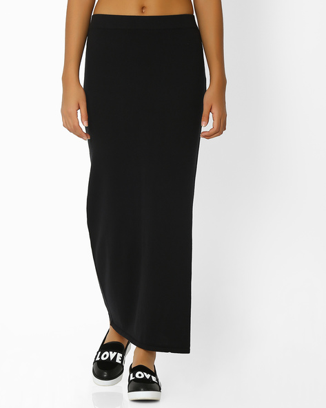 Knitted Pencil Skirt With Side Slit By FIG ( Black )
