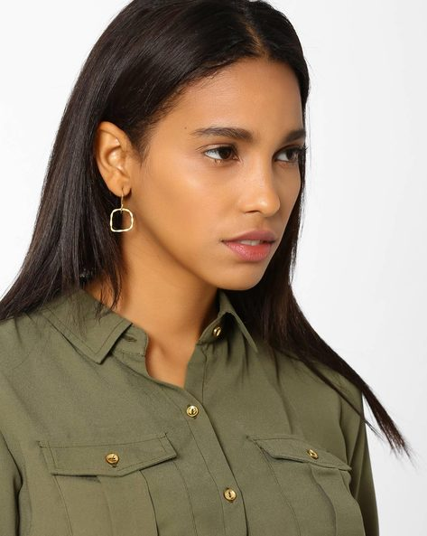 Geometric Matte Gold-Plated Drop-Earrings By AJIO ( Gold )