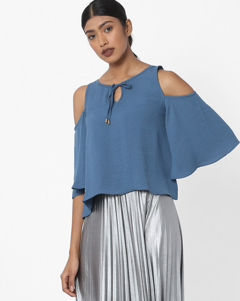 Flared Cold-Shouldered Top By AJIO ( Navy )