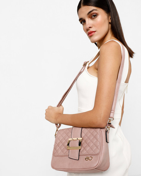 Textured Sling Bag With Detachable Strap By E2O ( Pink )