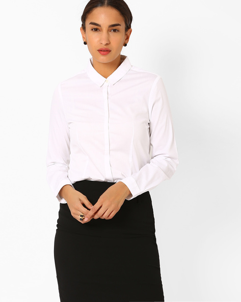 Cotton Shirt With Concealed Button Placket By AJIO ( White )