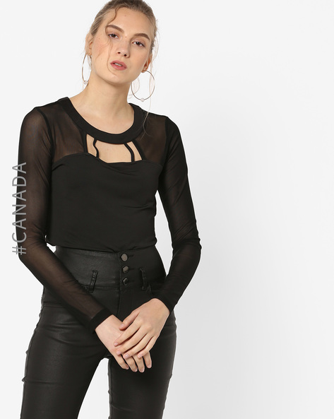 Top With Sheer Yoke & Sleeves By Point Zero ( Black )
