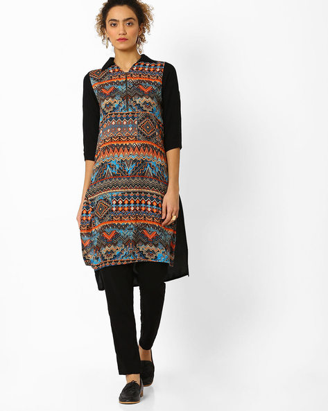 Printed High-Low Kurta By Juniper ( Multi )