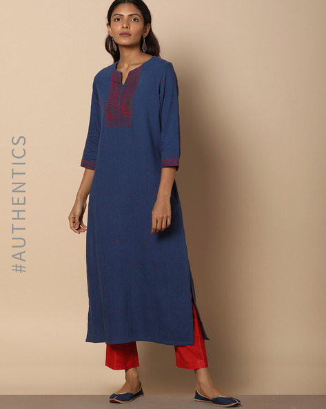 Straight Kurta With Embroidery By Project Eve IW Evening ( Blue )