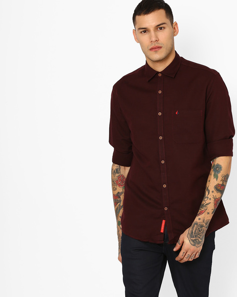 Slim Fit Shirt With Patch Pocket By British Club ( Brown )