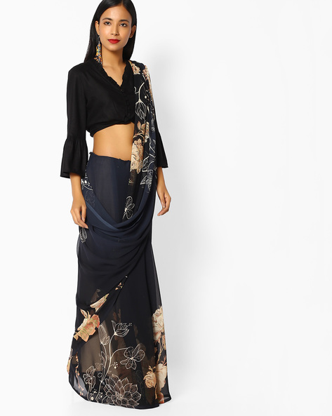 Floral Print Saree By Majestic Silk ( Grey )