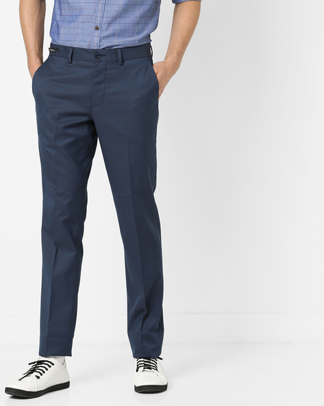 Checked Slim Fit Flat-Front Trousers By NETWORK ( Navy )