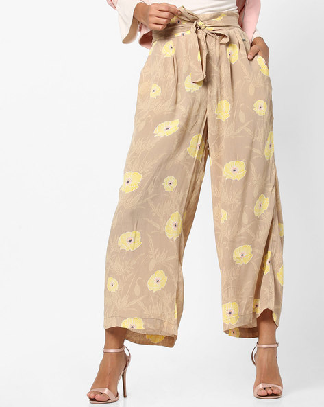 Floral Print High-Waist Pants By Vero Moda ( Silver )
