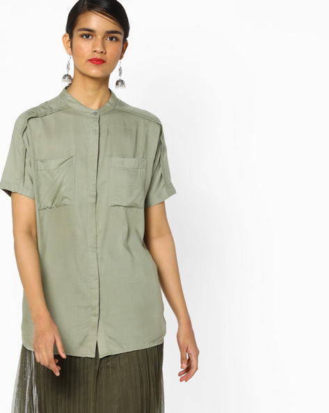 Shirt With Concealed Button Placket By Project Eve WW Casual ( Olive )