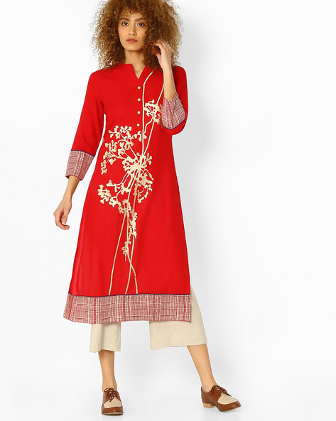 Straight Kurta With Embroidery By SOCH ( Red )